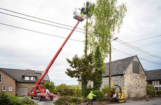 Tree Removal Services in Lebanon PA using an orange crane for tree removal